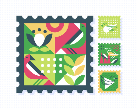 Ornamental set of color postage stamps with nature symbols, birds and leafs. Vector postal decorative design elements.
