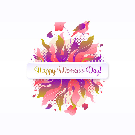 8 March, birthday greeting card. Floral composition with bird nightingale, flowers, bouquet and nightingale. Bright gradient International Women's Day postcard.