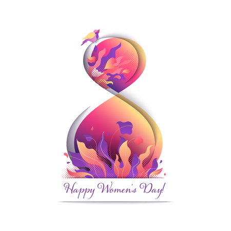 8th March greeting card with paper cut multi layered effect. Floral composition with flowers, bouquet and bird nightingale. Bright gradient International Women's Day postcard.  Ilustração