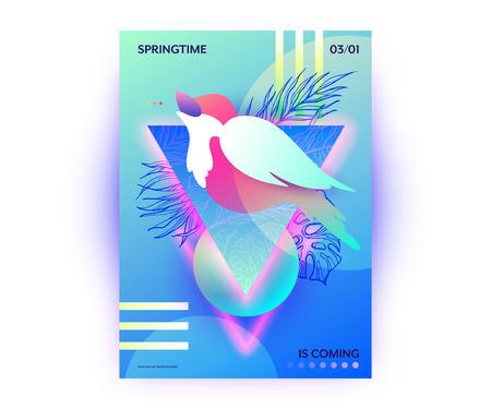 Bird in springtime vibrant gradients vector poster. Singing nightingale sitting on tree brunch, abstract web banner, spring flyer, wallpaper.  Ilustração