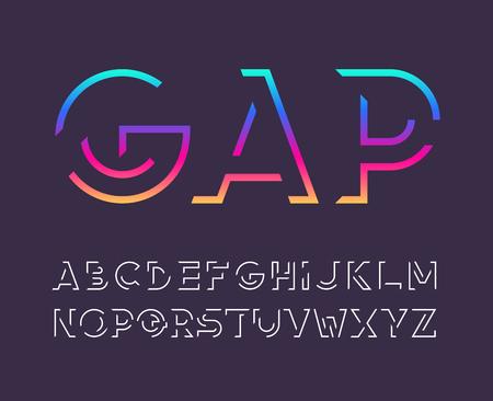 Gap line bold latin font, graphical decorative alphabet, vector modern broken, fragmented letters.