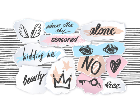 Torn off paper edges collage pieces sketches set. Vector empty fashion design elements with hand drawn words, lettering, drawings.