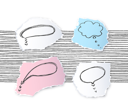 Torn off paper edges speech bubble pieces  sketches set. Vector empty design elements for photo collage.