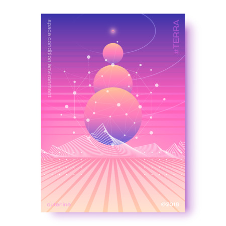 Fluid gradients A4 poster with planets, star sky and space landscape, abstract graphical color banner, modern vector vertical background.