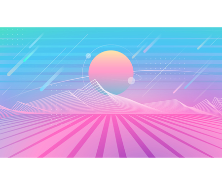 Fluid gradients landing web page header with space landscape, abstract graphical color banner, modern vector horizontal background. Illustration