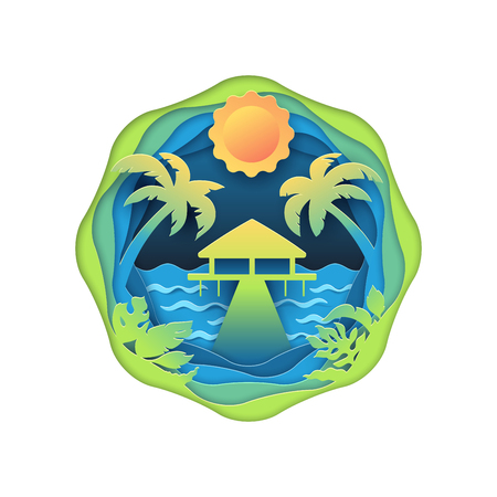 Bungalow on tropical beach. Traveling, sea trip and vacations multi layered 3d paper cut effect illustration. Isolated vector concept of tourism, and ocean holidays.