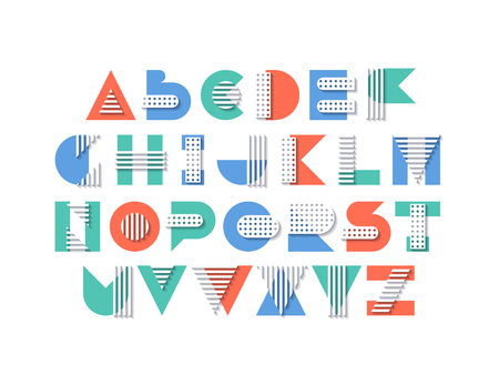Fresh multi layered effect geometry shapes, striped and in peas patterns' decorative uppercase font, vector color graphical latin type.