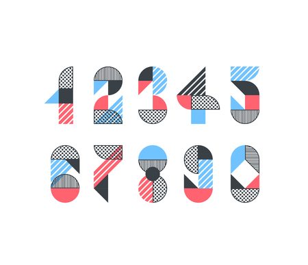 Vector numerals Set of creative color geometry shapes  figures for trendy design.
