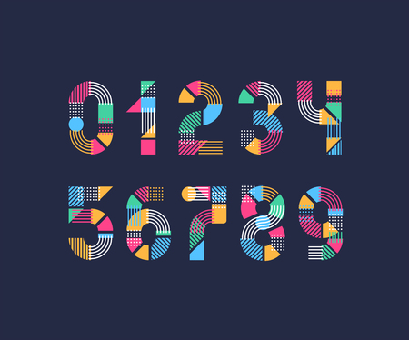 Vector numerals Set of creative color geometry shapes figures and numbers.