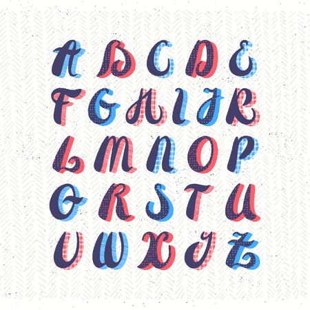 Hand written style funny and joyful textured vector lain alphabet. Vintage calligraphy type. English capital letters font, ABC.