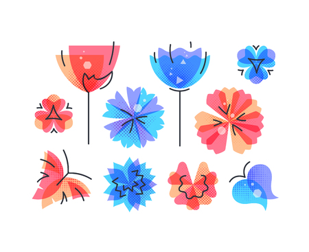 Vector set of isolated spring and summer nature design elements with abstract color flowers and butterflies.