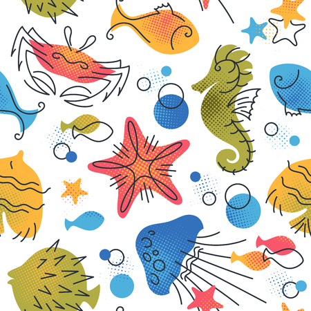 Marine life color flat seamless pattern. Vector repeatable background with fish, sea and ocean creatures.