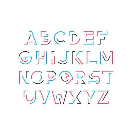 Gap line bold latin font, graphical decorative alphabet, vector modern broken, fragmented color letters. Ilustração