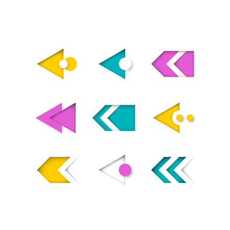 Vector set of color modern arrows and pointers for web design, presentations and infographics. Illustration