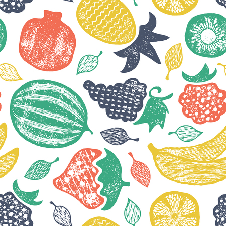 Vector seamless grunge textured pattern with fruits.