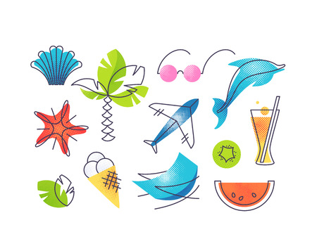 Summer and beach vacations color vector icons' set. Vettoriali