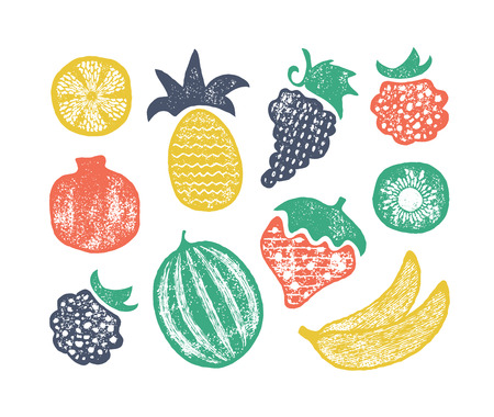 Grunge textured set of isolated fruits' vector illustrations.