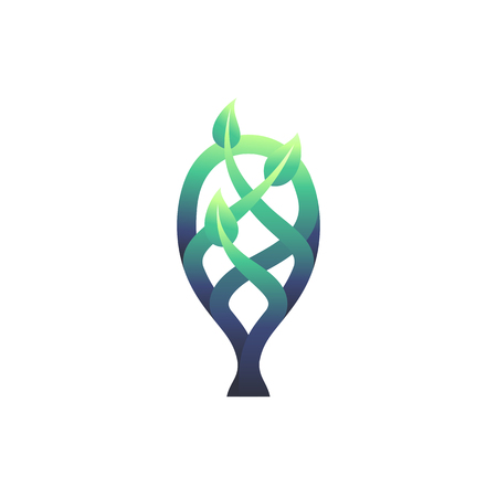 Vector gradient tree with leaves symbol, green nature and environment concept. Ilustração