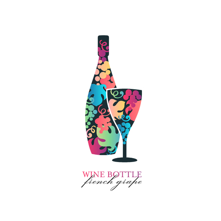 Wine bottle and glass with grape and leaves bright color icon. Ilustração