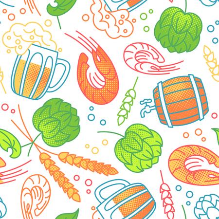 Vector seamless pattern for menu, package, design with drinks, barrel of beer, shrimp, hops and malt. Ilustração