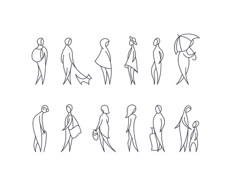 Vector set of stylized people figures, outline men and women in different poses. Ilustração