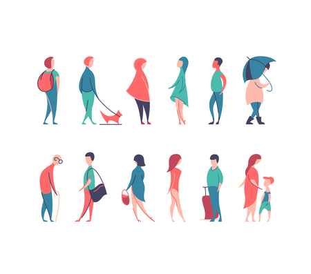 Vector set of stylized people figures, flat line and color men and women in different poses. Ilustração
