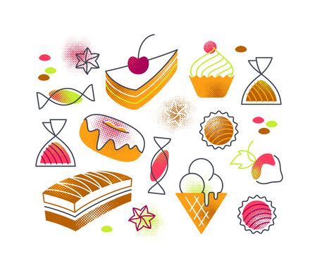 Flat cartoon sweets and cakes confectionery isolated illustrations.