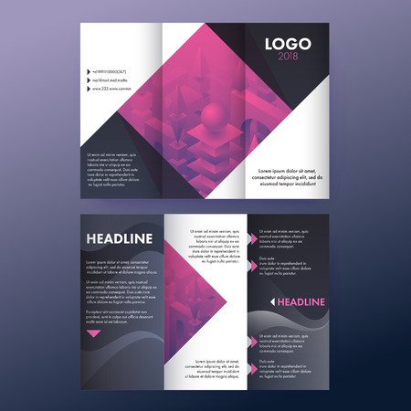Tri fold brochure with abstract bulidings concept, abstract advertising booklet design.