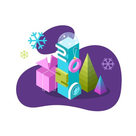 Bright 3d isometric vector illustration. Creative Christmas or New 2020 Year design greeting card.