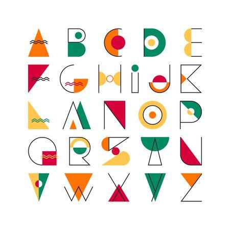 Geometrical latin font, pop art graphical decorative type. Vektorové ilustrace