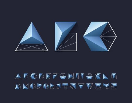 Futuristic grid and geometry shapes pictograms' alphabet, capital vector letters for contemporary design.