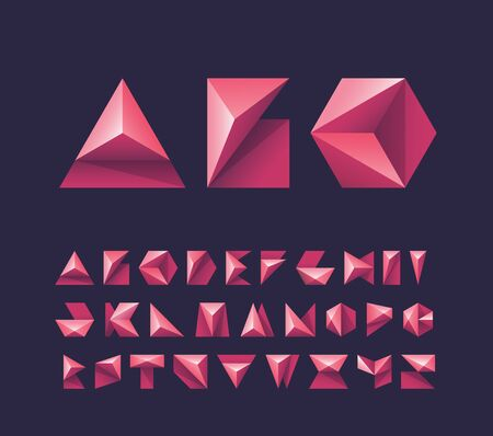 Bright red geometry shapes pictograms' alphabet, capital vector letters for contemporary design.