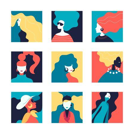 Vector set of stylized women illustrations, creative color avatars.