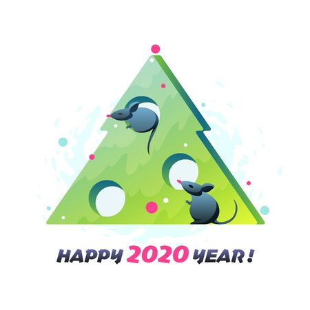 Modern flat illustration with New Year tree and symbol of 2020 year - mouse.