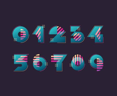 Vector numerals. Set of simple color geometry shapes' figures and numbers.   Ilustração