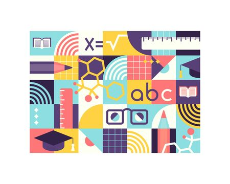 Graphical science and knowledge school geometrical design pattern.
