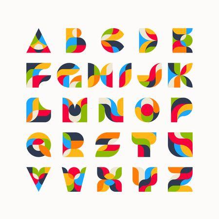 Geometrical color latin font, graphical decorative type. Ilustração