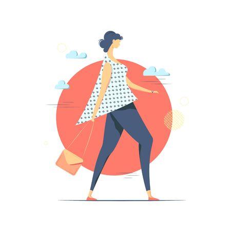 Walking young woman conceptual vector  illustration.   Ilustração