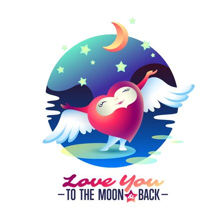 Vector Saint Valentine love greeting card with heart, wings and words To the Moon and back.