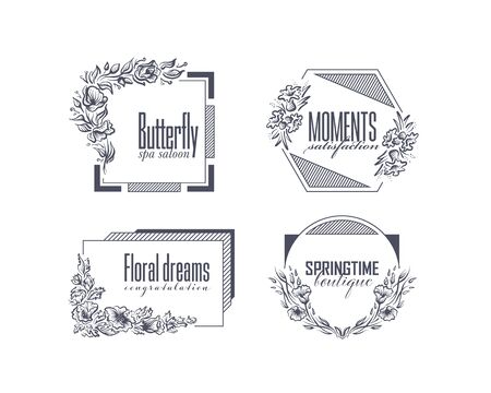 Graphical floral and geometry labels with hand drawn flowers, creative vector package.
