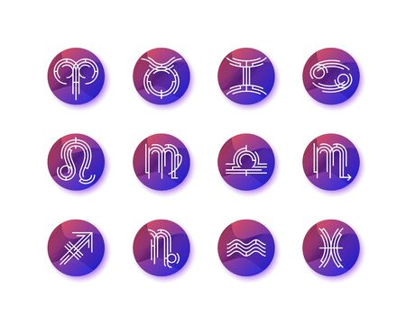 Graphical astrological symbols, round gradient zodiacal signs set
