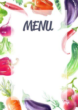Vegetables and vegetarian food frame, vegan bright color template.