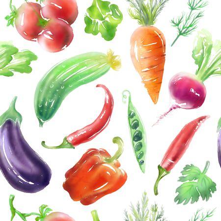 Seamless digitally drawn vegetables' vegetarian food pattern, vegan bright color background.