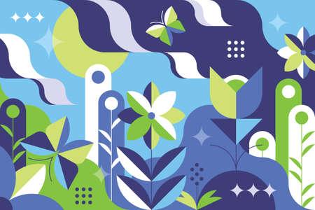 Spring flat and abstract geometry gemetrical pattern illustration. Illusztráció