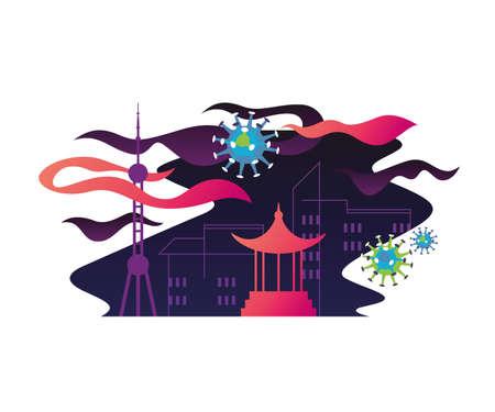 Chinese cityscape vector coronavirus 2019-nCov illustration