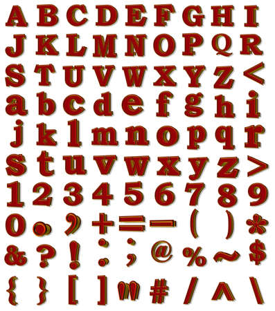 3D raster alphabet,numerals,signs Stock Photo