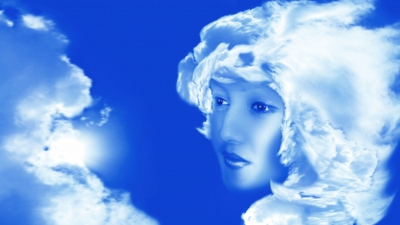 photographies: montage to photographies with scene of the person of the girl in sky