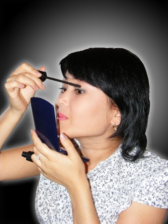 makeups: photography with scene of the girl taking care of person at make-ups