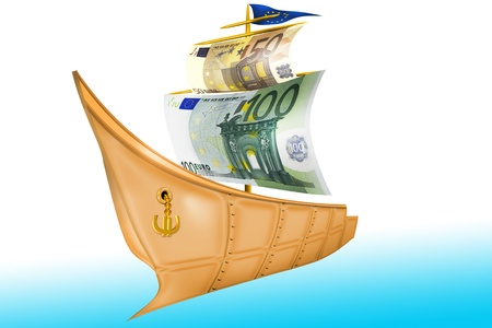 nave: Illustration with element of the photographies with scene gilded nave with euro sail