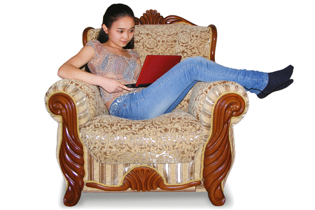easy chair: photography with scene of the girl in easy chair with computer